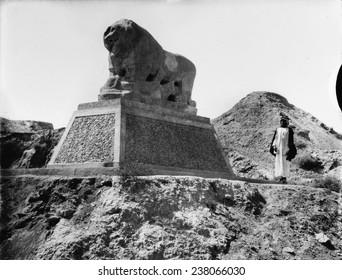 Babylon, a Basalt lion, Iraq, ca 1932.