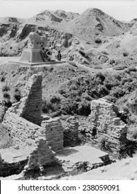 Babylon, Basalt lion marking Daniel's den, Iraq, ca 1932.