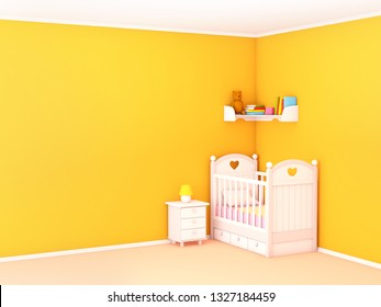 Baby's bedroom with crib, nightstand and bookshelf, empty wall. 3d illustration