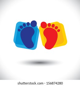 baby's colorful pair of foot sign or symbol for nursery school graphic. This illustration can represent play school, nursery or kindergarten of kids & toddlers or baby care centers, etc