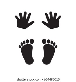 Baby's footprints and handprints, icon. Abstract concept. Flat design. Raster illustration on white background.