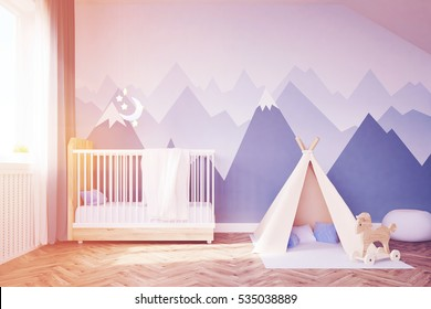 Baby's room. Bed, tent. 3d rendering. Toned image