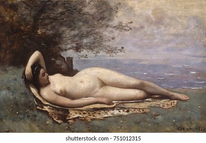 BACCANTE BY THE SEA, by Camille Corot, 1865, French painting, oil on wood. Corot painted figures with a naturalness that places them near the realist school. The woman lies on a leopard or tiger skin,