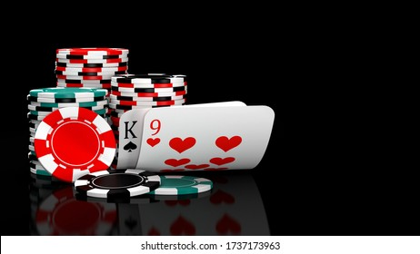 Baccarat game card combination natural 9 with casino chips on black table. 3D illustration