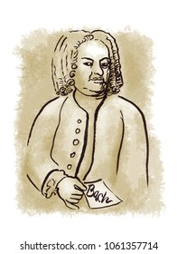 Bach watercolor sketched portrait with little note in his hand