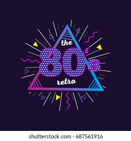 Back to the 80's typography poster. Retro vintage colorful background. Eighties graphic banner. Apparel design for tee print.