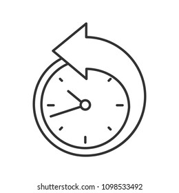 Back arrow around clock linear icon. Counterclockwise. Thin line illustration. Reschedule. Contour symbol. Raster isolated outline drawing