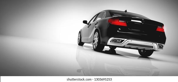 Back of black luxury car on white background. Generic, brandless design. Automobile, transportation. 3D illustration.