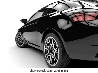Back of a generic black sport car isolated on a white background