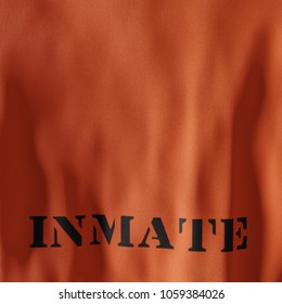 Back of a prisoners apperal with the words inmate stamped onto the fabric. - 3D Illustration