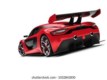 Back of a red custom sport car: 3D illustration