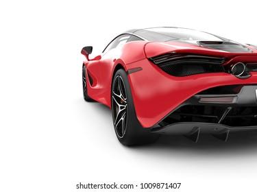 Back of a red modern sport car: 3D illustration