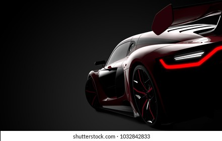 Back of a red modern sport car: 3D illustration