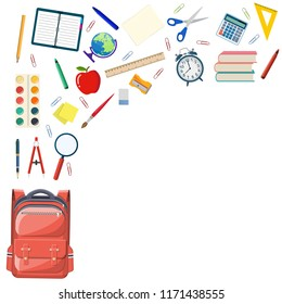 Back to school background with school supplies in school bag big set. illustration in flat design Raster version.