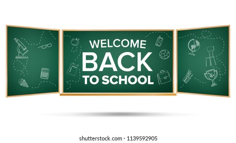 Back To School Banner. Classroom Blackboard. Sale Background. Welcome. Education Related. Realistic Illustration