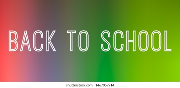Back to school banner poster graphic with multi-coloured gradient background - education, shopping and retail concept