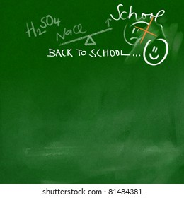 back to school - chalk doodles on green smeary chalkboard background