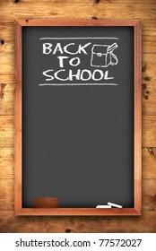 back to school chalkboard on wooden wall