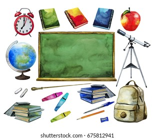 Back to school collection. Equipment for education isolated on white background