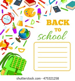 Back To School cover for children teenagers school exercise book. set Illustration. Phrase with colorful school items and supplies composition. Education and web design concept.
