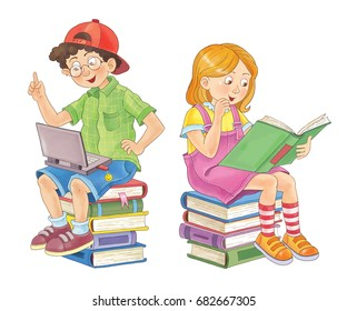 Back to school. Cute boy and girl with books and laptop.  Illustration for children. Coloring page. Funny cartoon characters