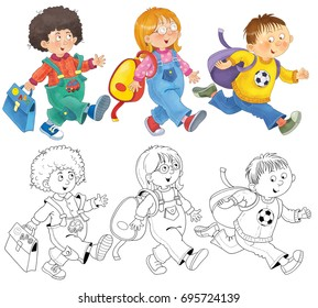 Back to school. Cute schoolchildren hurrying to school. Illustration for children. Coloring page. Funny cartoon characters