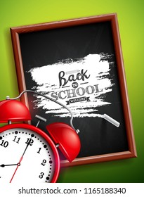 Back to school design with alarm clock, chalkboard and typography lettering on green background.  illustration for greeting card, banner, flyer, invitation, brochure or promotional poster JPG version.