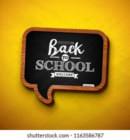Back to school design with chalkboard and typography lettering on yellow background.  illustration for greeting card, banner, flyer, invitation, brochure or promotional poster. JPG version.