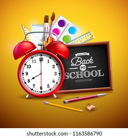 Back to school design with graphite pencil, pen and other school items on yellow background.  illustration with red alarm clock, chalkboard and typography lettering for greeting card, banner, flye
