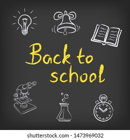 Back to school drawings . Education drawn signs lamp idea ring book easel microscope test tube stopwatch building on black background. Lesson drawing sketch objects