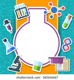 Back to school elements on blue background poster in sticker style design. illustration template card illustration concept