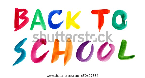 Back School Fonts Design By Watercolor Stock Illustration 650629534