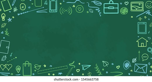 Back to school. Hand drawn elements. Abstract blackboard. Welcome back to school design