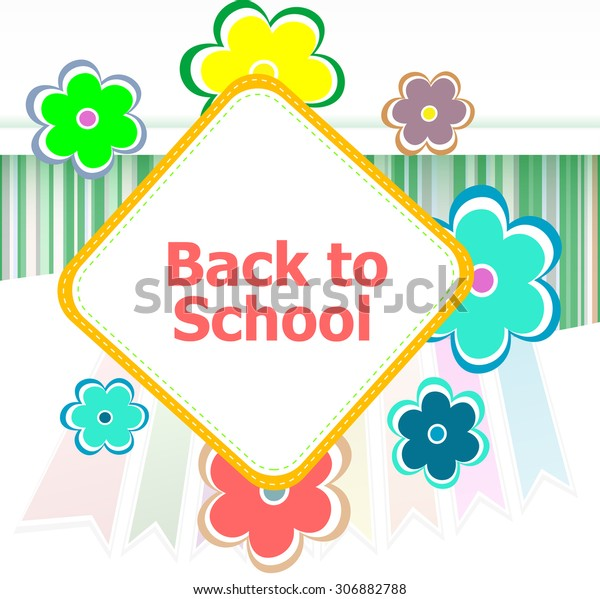 Back School Invitation Card Flowers Education Stock Illustration ...