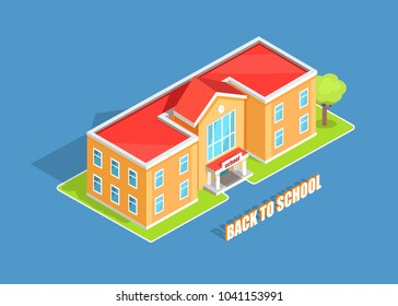 Back to school isolated 3d  illustration with inscription on blue background. Cartoon style light orange two-storey educational institution