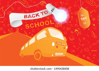 Back to School on the yellow bus. Super Sale 50 special offer. Set icons with ribbon and realistic light bulb with lighting. Flat Illustration. Raster illustration