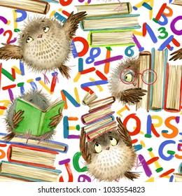 Back to school seamless pattern. Cartoon alphabet. cute owl watercolor illustration.