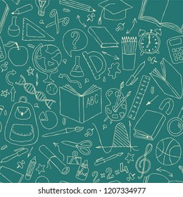 Back to school seamless pattern. Good for textile fabric design, wrapping paper and website wallpapers.