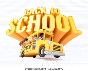 Back to school! Smiling little girls and boys in yellow bus. 3D illustration