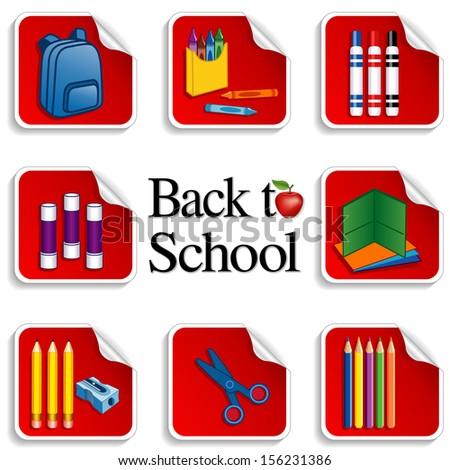 Back School Stickers Apple Teacher Backpack Stock