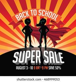 Back to school super sale super hero burst background.