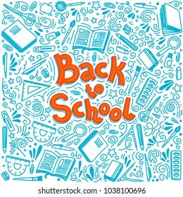 Back to school thin line doodle illustration on white background. Outline style. Sketchy concepts with stationery for graphic design, web banner and printed materials. Writing materials. illustration