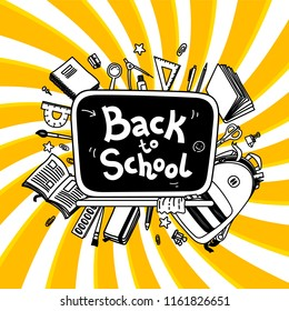 Back to school thin line doodle illustration template on yellow twisted background. Sketchy backpack and stationery for graphic design, web banner and printed materials. Back to school banner.