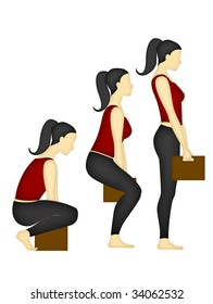 Back and shoulder right position when lifting a box, on a white background