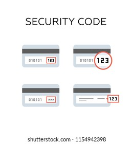 Back side of the credit card with CVV security code. icon set.