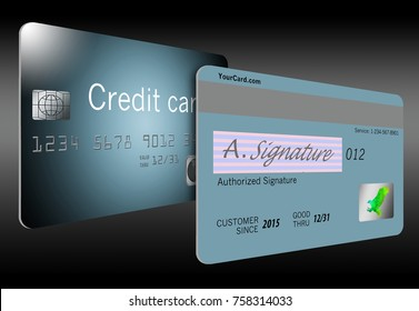 The back side, obverse side of a credit card is illustrated here. Illustration includes signature panel, hologram, expiration date, magnetic strip, security code number
