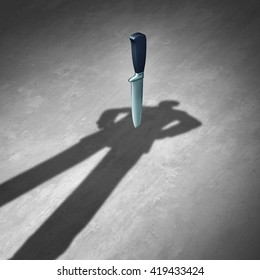 Back stabbing or backstab concept as a symbol of business betrayal and treachery as the shadow of a businessman with a knife or dagger stabbed behind him as a 3D illustration.