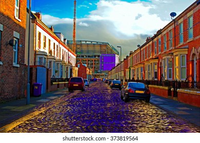 The back streets of Liverpool UK Digitally Painted
