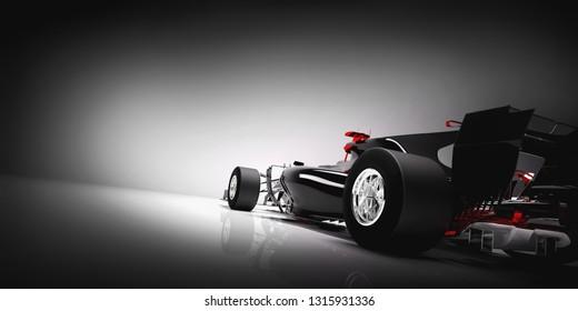 Back of super sports car in spotlight. 3D illustration.