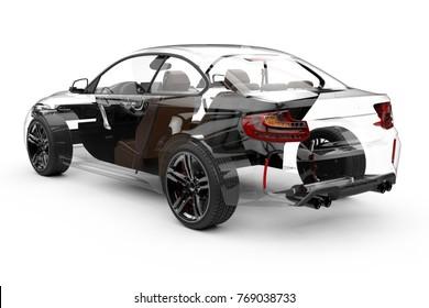 Back transparent car on a white background: 3D rendering